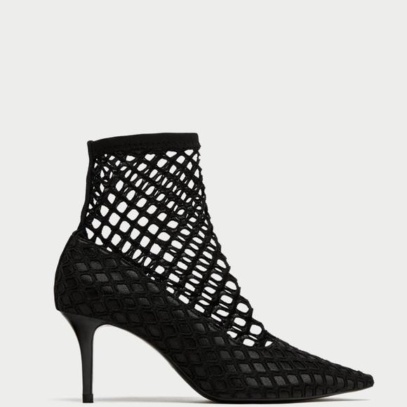 Zara Shoes   Zara Fishnet Black Heels